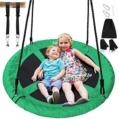 Sunkorto 40 Inch Flying Saucer Tree Swing, Round Indoor Outdoor Swingset with Hanging Strap Kit, 600lb Weight Capacity, Steel Frame & Adjustable Rope, Easy Install Swing Set for Kids Adults, Green