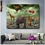 Salvador Dali Elefant Deer Trompete Gemälde Leinwand