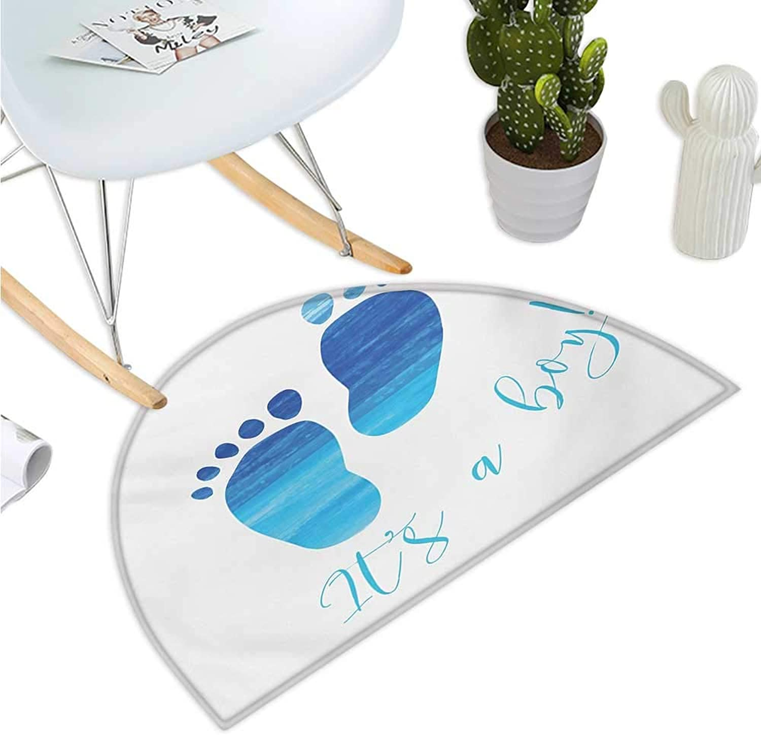 It`s a Boy Half Round Door mats Baby Gender Reveal Concept Illustration Footprints with Sea Inspired Design Bathroom Mat H 39.3  xD 59  bluee and White
