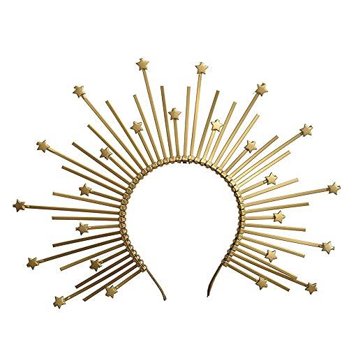 xiangwang Diadema de corona con punta dorada, hada, Lolita, para mujer, con diseño de elfo, de plástico, con cierre de cremallera, color dorado