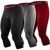 Neleus Men's 3 Pack Running Capri Leggings Athletic Compression...