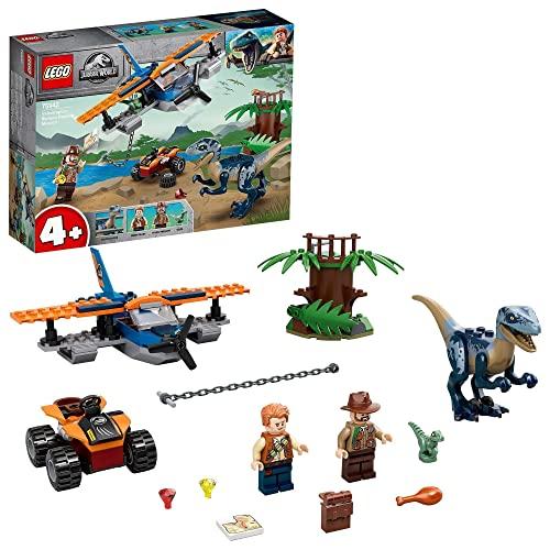 Jurassic World 4+ Velocirraptor: Misión de Rescate en Biplano Juguetes de Dinosaurios para Niños de Prescolar, multicolor (Lego ES 75942)