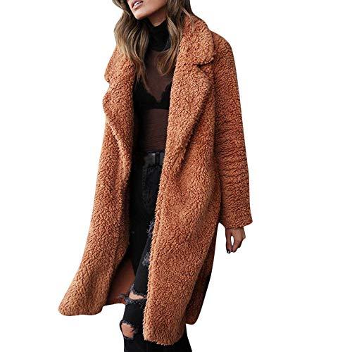 Riou Strickjacke Damen Lang Winter Warm Gefüttert Revers Parka Wollmantel Only Casual Trenchcoat Mantel Steppjacke Cardigan (M, Khaki)
