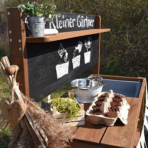 Meppi Matschküche Kleiner Gärtner, braun aus Holz, Outdoor-Küche - 2