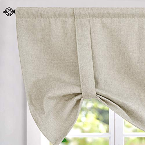 jinchan Tie up Valances for Kitchen Windows Linen Textured Room Darkening Adjustable Tie Up Shade Window Curtain Rod Pocket 20 Inches Long 1 Panel Greyish Beige