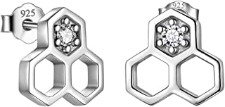 Besilver Cat Ring Hexagon Honeycomb Bee Ring Earrings Turtle Ring Star of David Ring Cactus Ring Cute Rings for Women Teen Girls Sterling Silver Adjustable Bands Ring