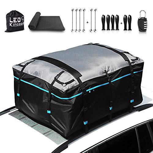 LEDKINGDOMUS Rooftop Cargo Carrier Bag, Waterproof 19cft Truck Pickup Cargo Carrier, 600D with PVC Coating Roof Top Bag for All Cars with/Without Rack, (Bungee Hooks/Anti-Slip Mat Inclued)