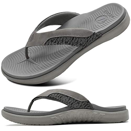 ONCAI Mens Grey Flip Flops Comfort Beach Sport Athletic Soft Thong Sandals with Yoga Foam Arch Support Size 11