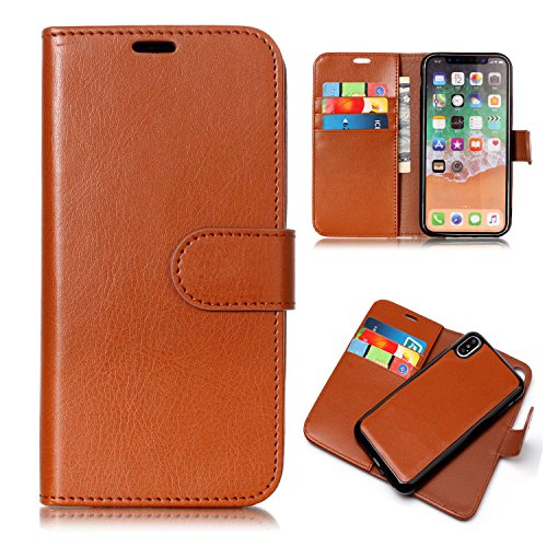 iPhone XS Case,iPhone X Case, UZER 2 in 1 Detachable Magnetic Back Cover Premium Leather Folio Flip Kickstand Removable Wallet Case with Card Slot Cash Holder Pocket for iPhone XS 2018/ iPhone X 2017