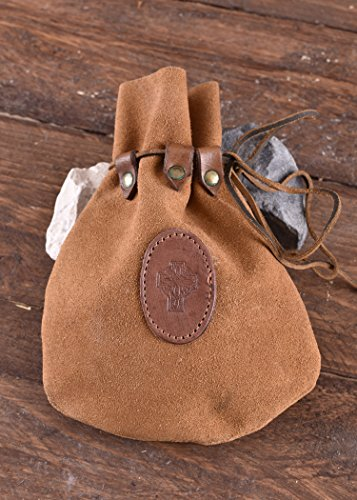 Medieval Drawstring Leather Pouch with celtic cross - Bag - viking belt wallet purse