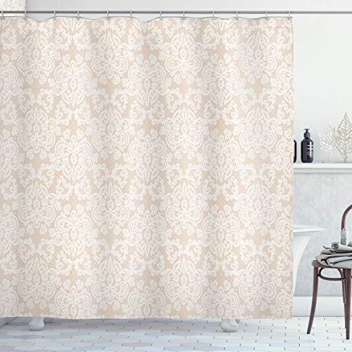 "Lunarable Cream Shower Curtain, Wedding Inspired Symmetrical Design White Lace Style Background Pattern Damask Vintage, Cloth Fabric Bathroom Decor Set with Hooks, 75"" Long, White Tan"