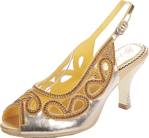 Zapatos de boda únicos con diamantes de imitación para mujer, de lujo, de noche, con tacón de cuña, color Dorado, talla 40 EU