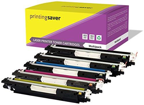 Printing Saver 5X Tóners compatibles para HP Color Laserjet Pro CP1025, CP1025NW, CP1020, 100 MFP M175A, M175NW, 200 MFP M275A, M275NW, TopShot Laserjet M275 impresoras