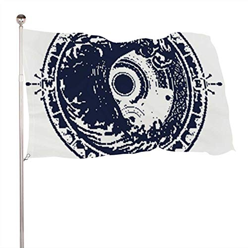 C COABALLA Sea Compass and Storm Tattoo Celtic STLE.Big Wave and Rose Compass t-Shirt Design.of Adventures Boho STLE.Great Outdoors.Tsunami,Indoor Outdoor Banner 100% Polyester Flag Banner 3x5 Ft