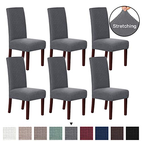 H.VERSAILTEX 6 Pack Stretch Dining Room Chair Slipcovers Sets Stretch Chair Furniture Protector Covers Jacquard Removable Washable Elastic Bottom Chair Cover for Dining Room, Hotel, Ceremony - Gray