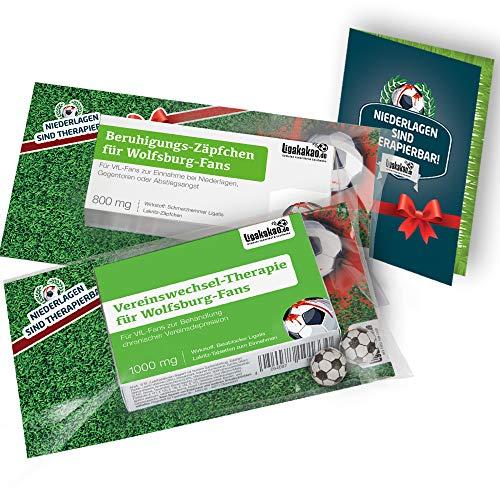 Die Kleine Therapie für Wolfsburg-Fans | 2X süße Saison-Schmerzmittel | Witzige Geschenke & Fanartikel by Ligakakao.de | Besser als Kaffee-Tasse, Kaffeepott, Becher oder Fahne