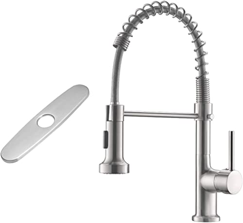 high quality GIMILI Spring Kitchen Sink outlet online sale Faucet with Deck sale Plate Brushed Nickel online sale