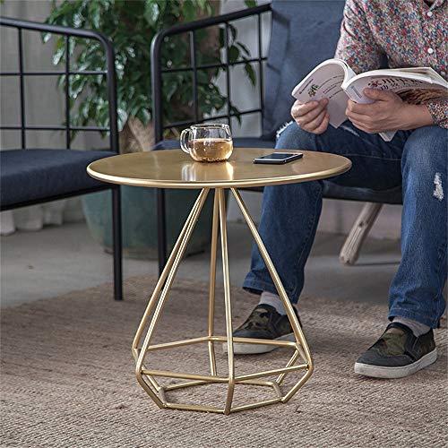 Doorzichtige metalen bijzettafel voor kleine woning, kleine tafel, rond, Scandinavisch, voor salontafel, balkon, glasplaat, eindstafel met anti-slip tafelpoten