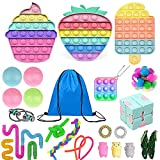 Eghunooze Juego de 10 piezas Fidget Pack, Super Barato Sensory Toy Set con malla de mármol Rainbow Pop Bubble Fidget Sensorial Juguete Alivio del Estrés Juguetes para Niños Adultos 7, 29Pcs