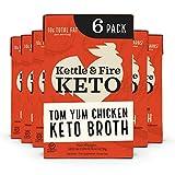 Tom Yum Chicken Keto Bone Broth, Chicken by Kettle and Fire, Keto Diet, Paleo Friendly, Gluten Free, with Collagen, 4g Net Carbs, 6g of Protein (Pack of 6)