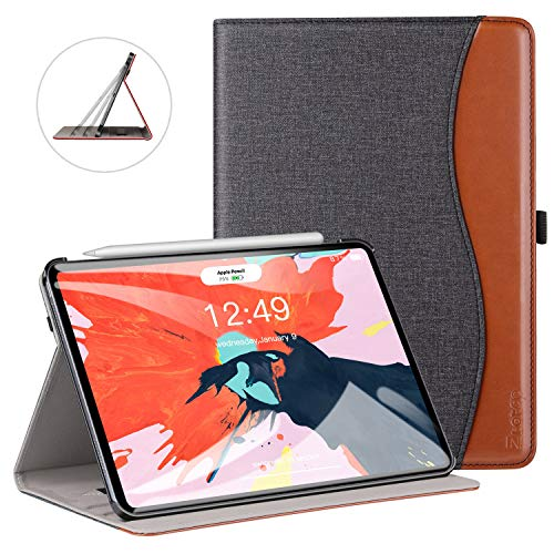 ZtotopCase Case for iPad Pro 11 Inch 2018,Premium PU Leather Business Folio Case Cover,with Stand and Pocket,Support 2nd Gen iPad Pencil Wireless Charging and Auto Wake/Sleep,Multi-angle,DenimBlack