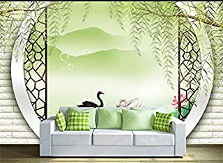 Yosot Custom Photo 3D Wallpaper Mural Non-Woven Weeping Willow Arch Swan Lake Decoration Painting 3D Wall Mural Wallpaper for Walls 3D-450Cmx300Cm