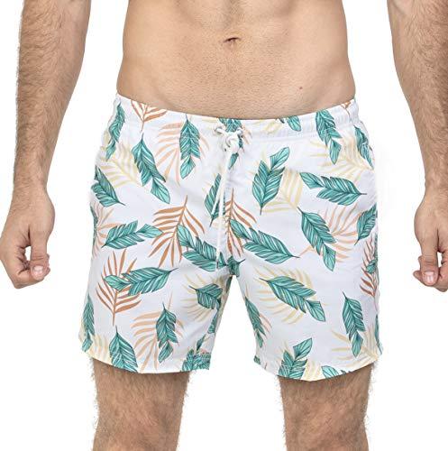 Palmers Swim Shorts Mens Quick Dry Swim Trunks with Mesh Lining, Print Swimwear Swimsuit (Green Leaf, Medium 30-33)
