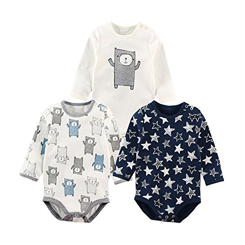 Baby Nest 長袖ボディースーツ 3枚セット 男の子 ベビー服 新生児 ロンパース コットン セット5 6-9M [7587]