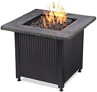 Uniflame GAD15204SP Outdoor LP Fire Table with Faux Stone Mantel - 30