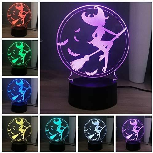 Schattig creatief led-tafelnachtlampje, kleurrijk flitslicht, mooie gril rijdt een bezem baby slaapkamer lamp illusie vriendin geschenk touch-schakelaar
