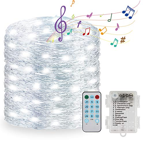 Wopin 33ft 100 LED Fairy Lights Sound Activated Music LED String Lights Battery Powered with Remote Control for Home,Bars,Parties,Christmas,Wedding Dance (Cold White)