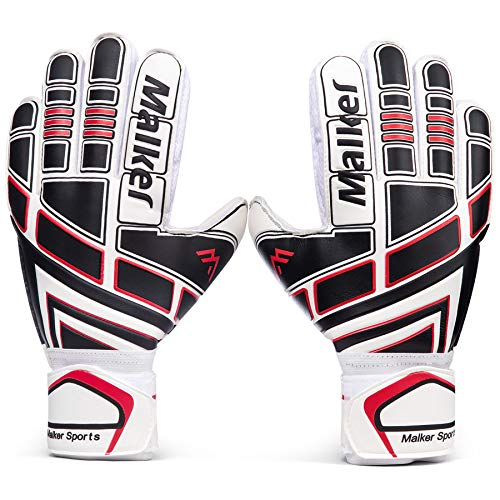 Malker Soccer Goalie Gloves Goalkeeper Gloves with Fingersave and Double Wrist Protection, Strong Grip Goalkeeper Gloves for Youth&Adult Size 7 (White)