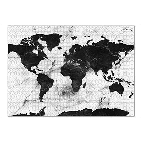 artboxONE Ravensburger-Puzzle XL (1000 Teile) Schwarzweiß Weltkarte Marmor schwarz und weiß