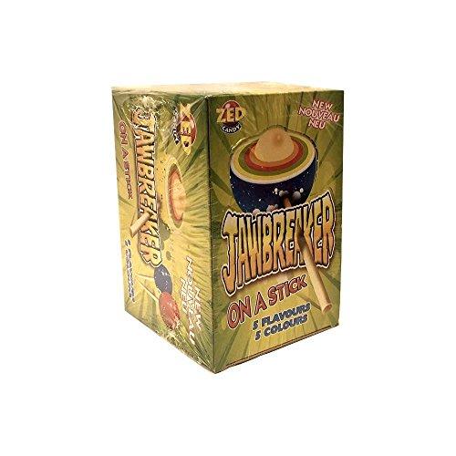 ZED Candy Jawbreaker on a Stick, Harte Wunderbälle mit Kaugummikern (15 Stk pro Box)
