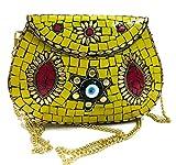 Gauri Amarillo Mujeres/Niñas Bolso de fiesta de embrague nupcial Bolsa de metal de mosaico Monedero indio étnico antiguo