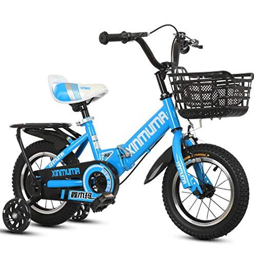 ZXCY 16 Pulgadas Bicicleta Plegable para Niños con Ruedas De Entrenamiento para Niños De 5 A 8 Años, Niños Y Niñas, Mini Bicicleta Plegable Ligera, Bicicleta para Ciclismo Al Aire Libre,Azul