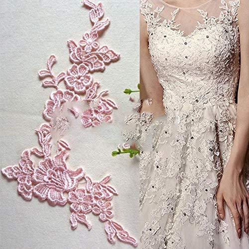 10 stks/partij oplosbare kant op de bloem kant stof naaien trim trouwjurk applique kant patch RS72, champagne kleur