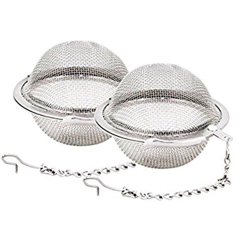 Weimay Teefilter für Teeball aus Edelstahl, Teesieb, Intervall-Diffusor mit verlängerter Kette von 5,3 cm (2,1 Zoll), 2 Stück