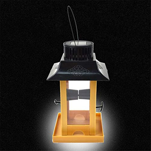 TBNOONE Alimentador de pájaros de luz Solar, estación de alimentación de pájaros Contenedor de alimento de pájaros de Gran Capacidad, comederos de pájaros Decoración de árbol de jardín al Aire Libre