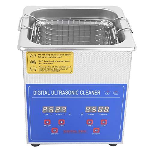 Ultraschall-Reinigungsgerät für Heizung, Ultraschall-Reinigungsgerät für Brillen, Schmuck, wasserdichte Uhren, Münzen, Zähne, Ultraschallfrequenz 40.000 Hz 2 l