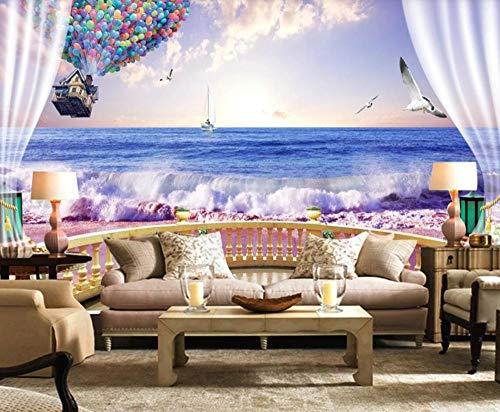 Wallpaper 3D Sunset Seaside Balloon Modern Custom Wall Mural Photo Wallpaper Murals