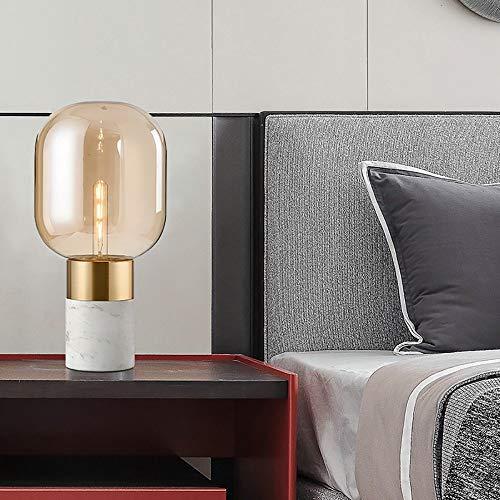 KK Zachary Lámpara De Mesa Creativa Lujo Moderno Dormitorio Mano Vidrio Soplado Lámpara De Mesa Base De Mármol De Cabecera Lámpara Decorativa 23 * 48cm
