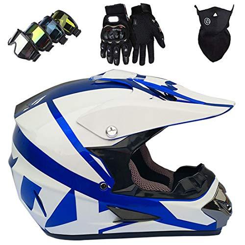 Juego de cascos de motocross/moto, casco integral MX/MTB para Dirt Bike Quad ATV, cascos de descenso con gafas, guantes, máscara
