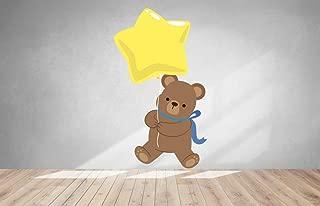 Teddy Bear with Star Balloon Vinyl Color Wall Decal, Teddy Bear with Star Balloon Color Wall Sticker, DP-119 WD (22