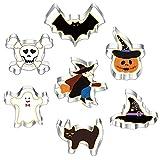formine biscotti Halloween Set di 7, in acciaio inox formine per biscotti, a forma di zucca, pipistrello, fantasma, gatto, strega, cappello, scheletro per decorazioni di Halloween formine biscotti