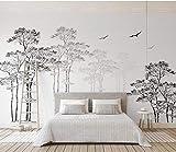 Papier peint intissé tapisserie murales panoramique 3D Esquisse noir et blanc abstrait arbre minimaliste oiseau tv fond d'écran