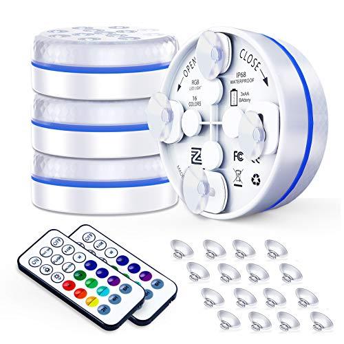 ZREE Unterwasser Licht, Unterwasser LED 4 Stück Mit Saugnapf und Magnet Kann Adsorbiert Werden IP68 Teichbeleuchtung 2H / 4H / 8H Timing-Funktion 16 Dynamische RGB-Farbe für Teich Schwimmbad