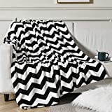 Vessia Large Flannel Fleece Plush Throw Blanket(50x70 inch) - Black and White Chevron Pattern Brushed Microfiber Bed Blanket, All Seasons Suitable for Women, Men