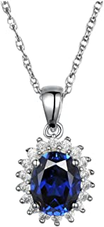 Ginger Lyne Collection Kate Sterling Silver Blue Oval CZ Pendant and Chain Necklace