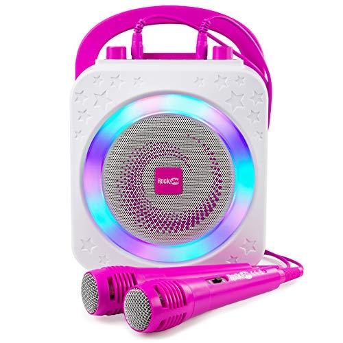 Die RockJam Party Karaoke-Maschine mit Bluetooth, 10-Watt-Lautsprecher und zwei Mikrofonen, rosa